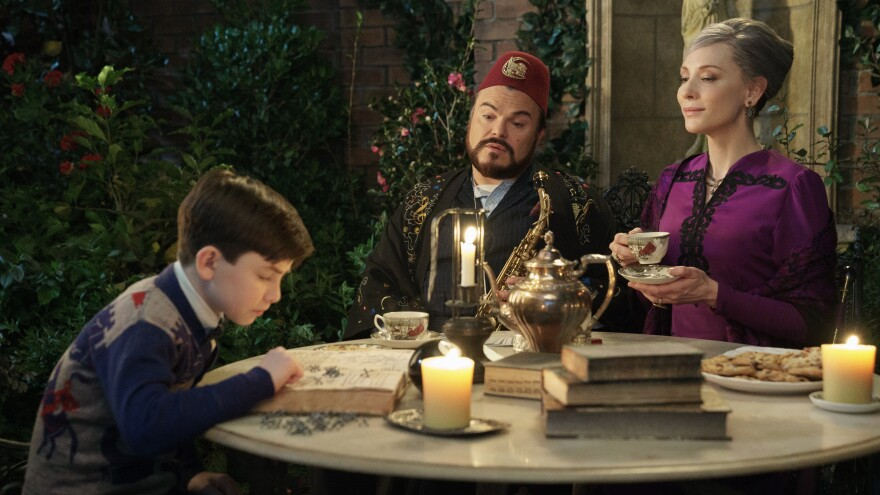 Magic is just a passing fez: Lewis (Owen Vaccaro), Uncle Jonathan (Jack Black) and Mrs. Zimmerman (Cate Blanchett) in <em>The House with a Clock in its Walls. </em>
