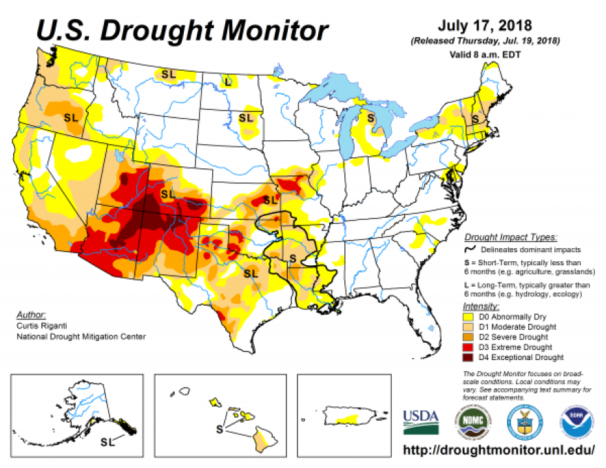 The July 17, 2018, drought monitor map.