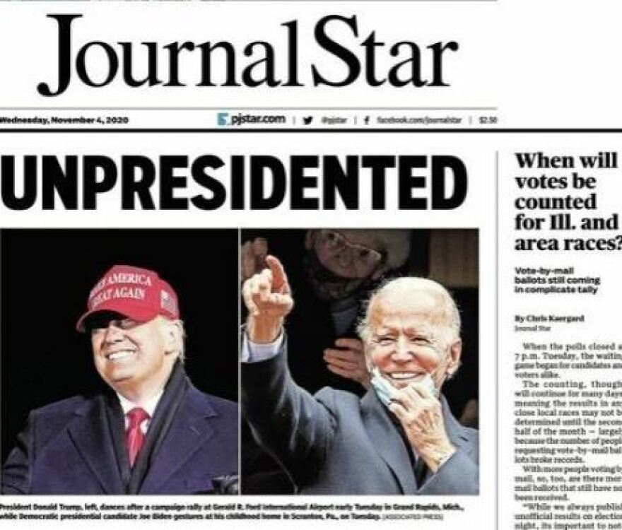 Wednesday's front page in the Peoria, Ill., <em>Journal Star</em> was a play on the word many have used for Donald Trump's four years in the White House: unprecedented.