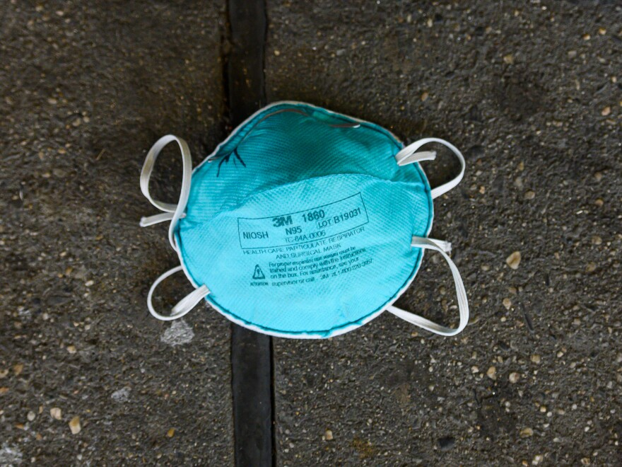 An N95 face mask outside NYU Langone Health hospital during the coronavirus pandemic.