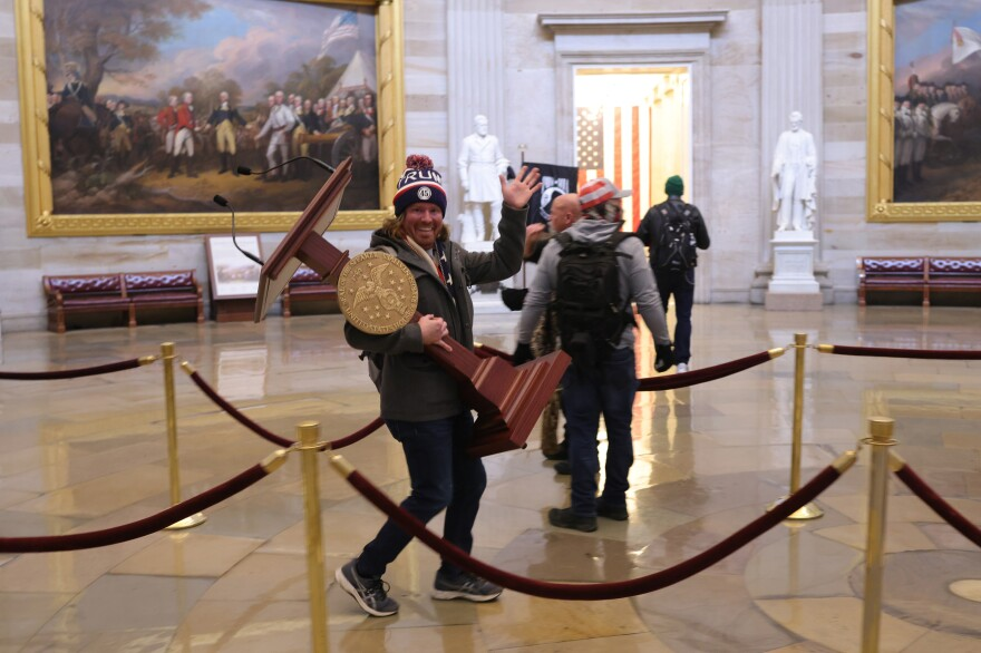 Protesters in the U.S. Capitol Building.