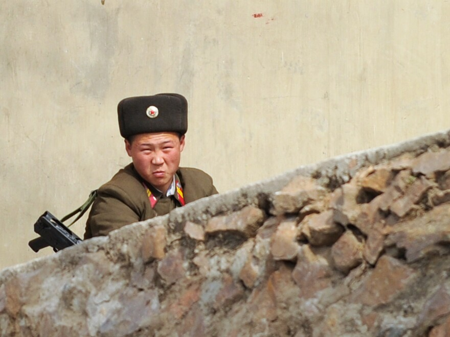 On Wednesday, a North Korean soldier looked on from the banks of the Yalu River on the border with China.