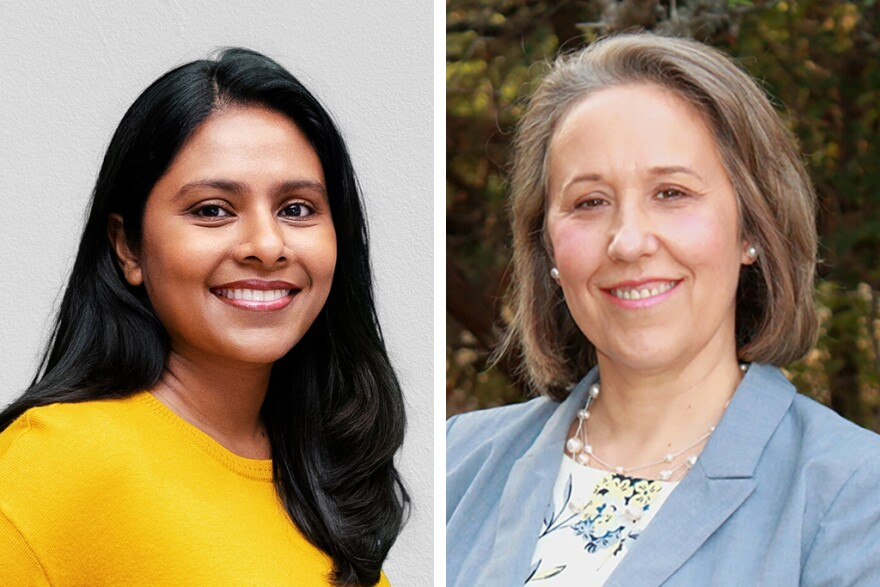 Donna Imam (left) and Christine Mann (right) are competing for the Democratic nomination in Texas' 31st Congressional District election.