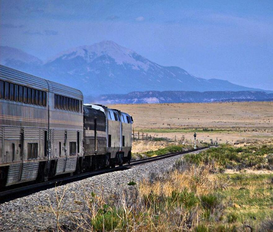 Amtrak's Southwest Chief travels from Chicago to Los Angeles, passing through southern Colorado and northern New Mexico.