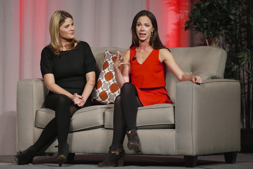 In a file photo, Former First Daughters Barbara Bush, right, and Jenna Bush Hager, speak at a fundraiser luncheon in Nebraska. (Nati Harnik/AP)