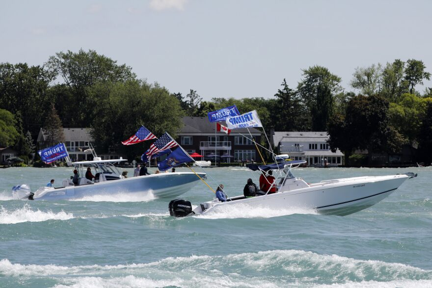 "Boaters participate in the ""Make america Great Again"" parade as they celebrate US President Donald Trump's 74th birthday on the Detroit River in Detroit, Michigan on June 13, 2020. - The parade is hosted by the Michigan Conservative Coalition and Michigan Trump Republicans 2020. (Jeff Kowalsky/AFP)"