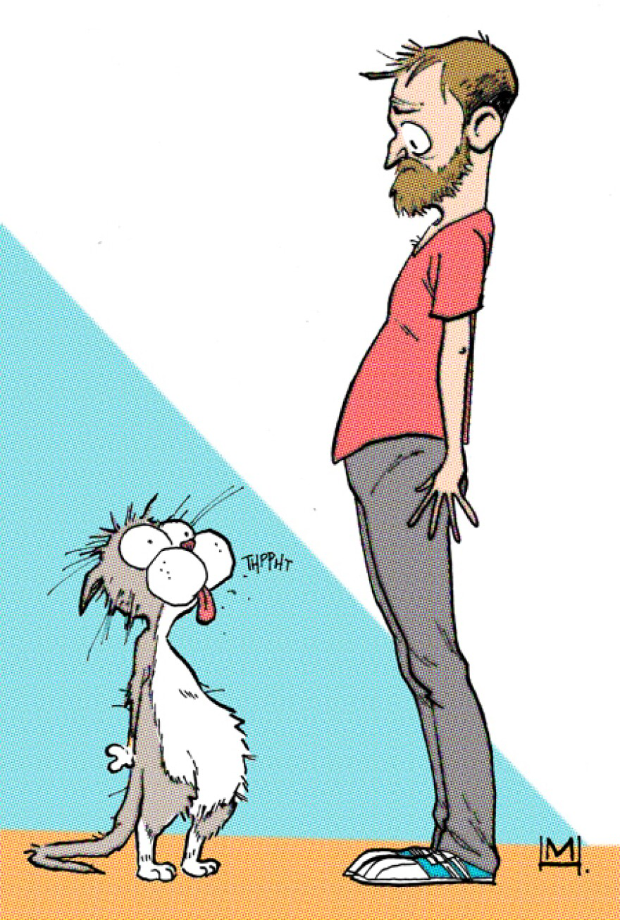 Mike and Ella in the style of Bloom County.
