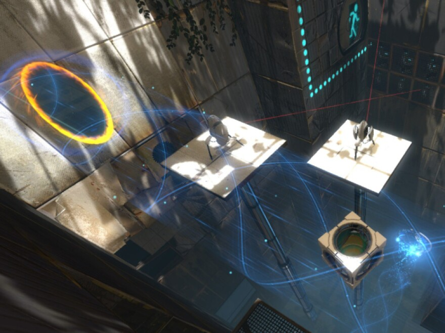 In the video game <em>Portal 2</em>, players use portals to teleport themselves and objects to help solve puzzles.