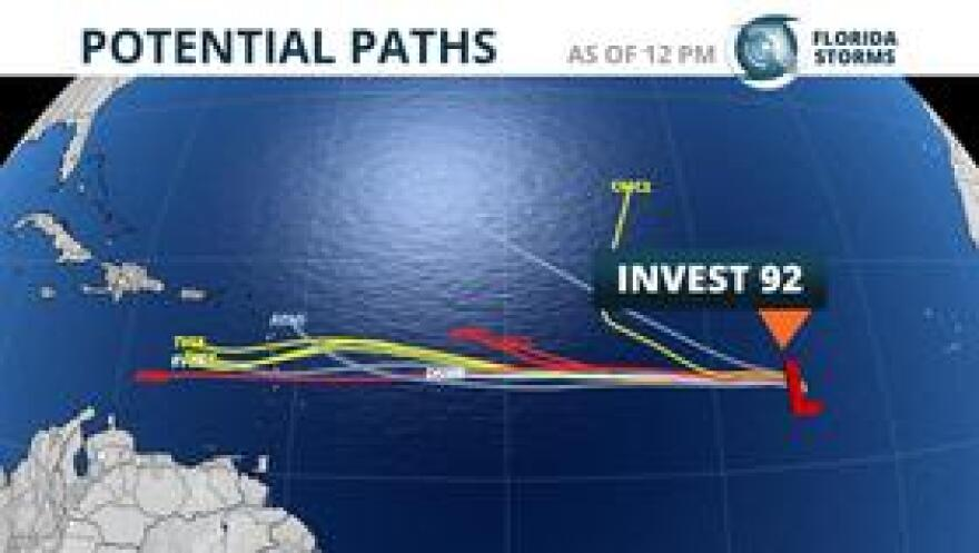 Early look at potential paths Invest 92 may take in the next five days.