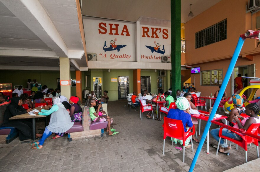 The outdoor eating area at Shark's.