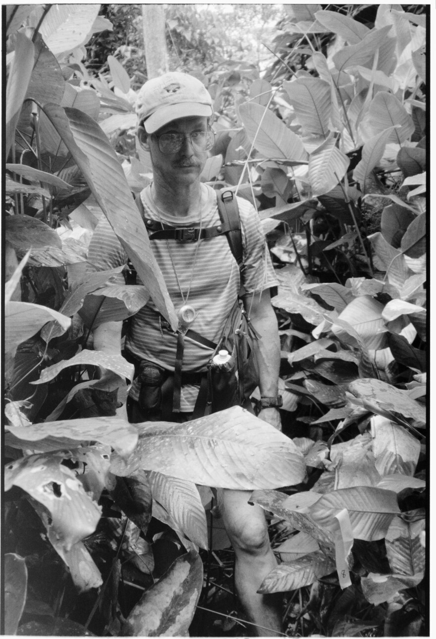 Science writer David Quammen treks through the jungle in the Republic of the Congo while traveling on the Megatransect Expedition in 2012.