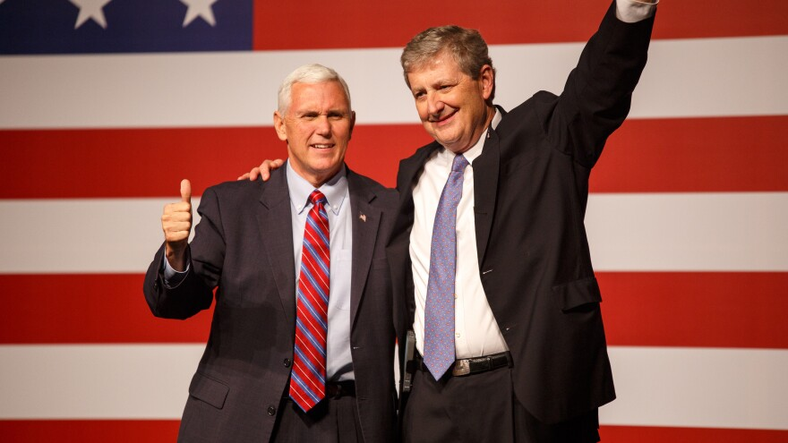 Vice President-elect Mike Pence campaigns with John Neely Kennedy, the Republican Senate candidate in Louisiana. Kennedy faces Democrat Foster Campbell in a runoff election on Dec. 10.