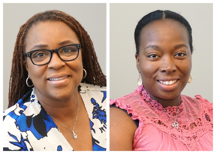 From Left, Alyce Herndon and Reona Wise are affiliated with Grace Hill Women's Business Center, which has a new location at 6722 Page Ave.