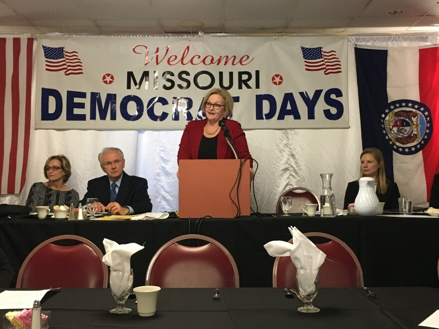 U.S. Sen. Claire McCaskill used part of her speech at last weekend's Democrat Days to attack Hawley.