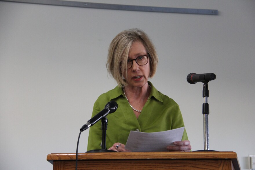 A woman from Labadie, Missouri talking at a hearing about coal ash waste regulations in March 2019.