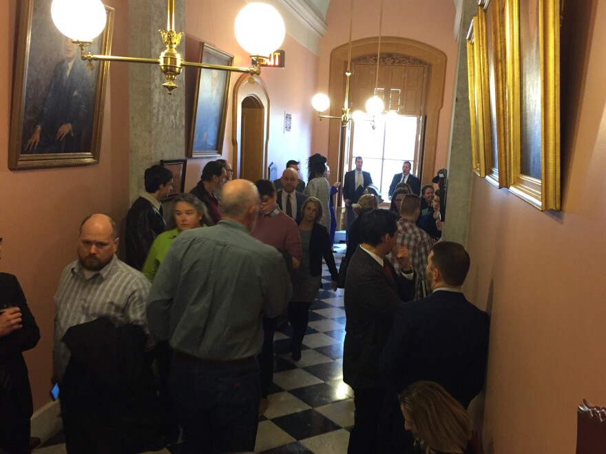 A crowd gathered at the Ohio Statehouse