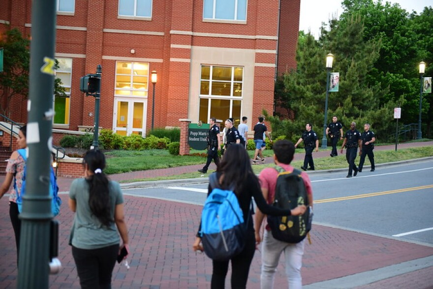UNCC remained on lockdown for several hours after the shooting as CMPD officers searched all buildings.