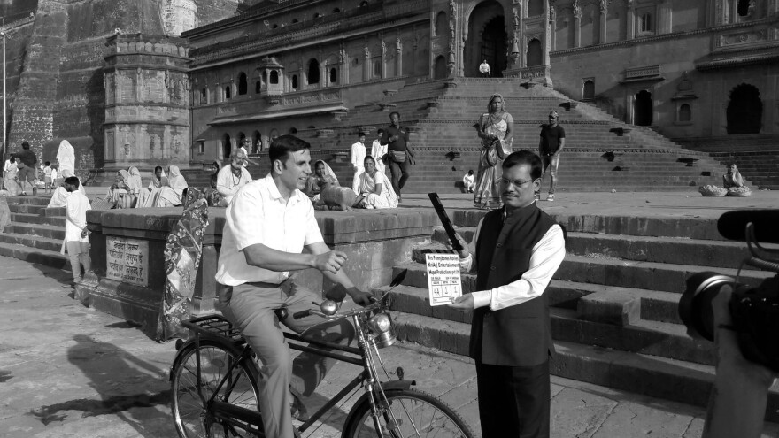 Arunachalam Muruganantham poses with actor Akshay Kumar, who portrays him in the new film <em>Pad Man.</em> It's a biopic about Muruganantham's quest to invent a machine that could make low-cost sanitary napkins.