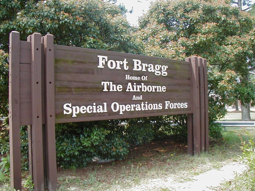 A sign at one of Fort Bragg's entrances.