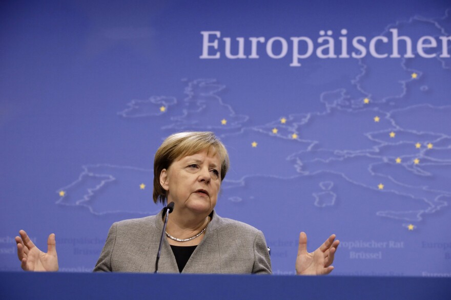 German Chancellor Angela Merkel speaks during a news conference at the conclusion of a European Union summit in Brussels, Dec. 13.