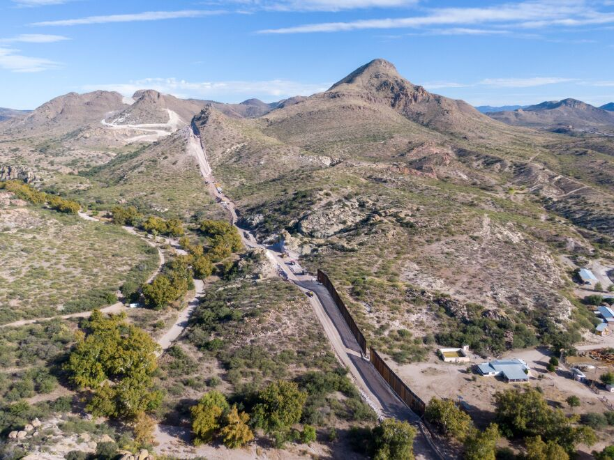A portion of the border wall is under construction in Guadalupe Canyon, Arizona, which is a wildlife corridor for Mexican gray wolves and endangered jaguars.