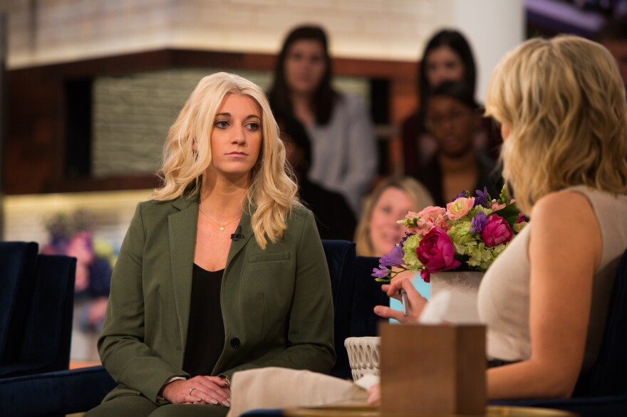 Bailey Davis, a former cheerleader for the New Orleans Saints, appears on <em>Megyn Kelly TODAY</em> on March 28. Davis was fired from the Saintsations after posting a photo of herself wearing a one-piece bodysuit on her private Instagram account.