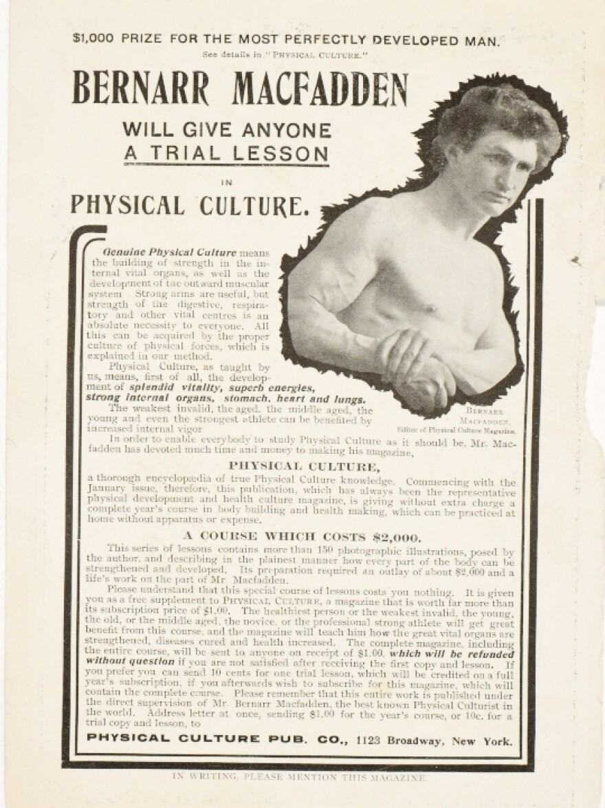 An ad for Bernarr Macfadden's physical culture course appeared in one of his periodicals, <em>Fair Play</em>, in 1902.