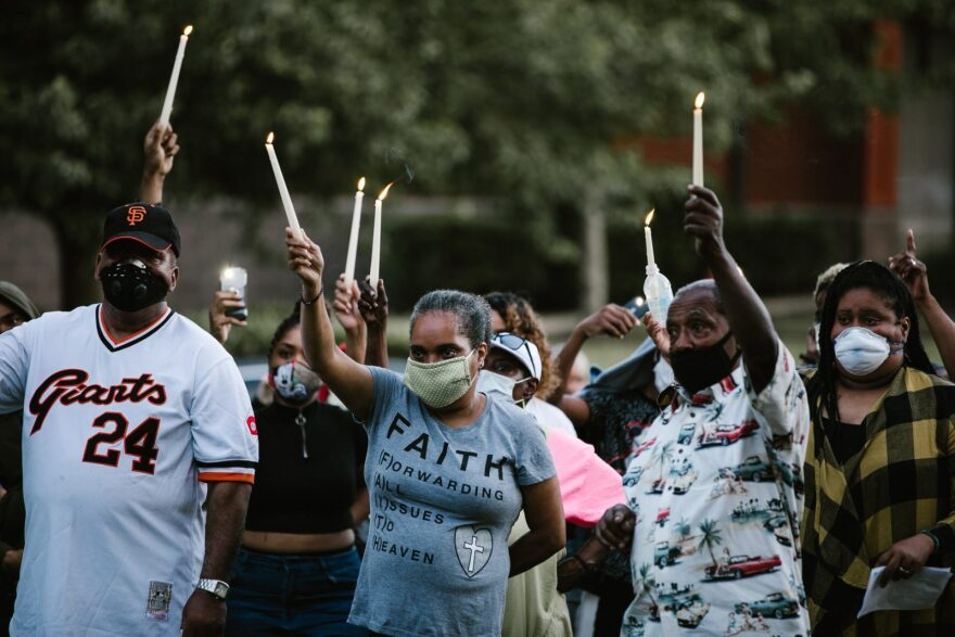 Family and friends gathered for a vigil after the fatal shooting of 18-year-old Deniro Monts in District Heights, Maryland, on May 17, 2020