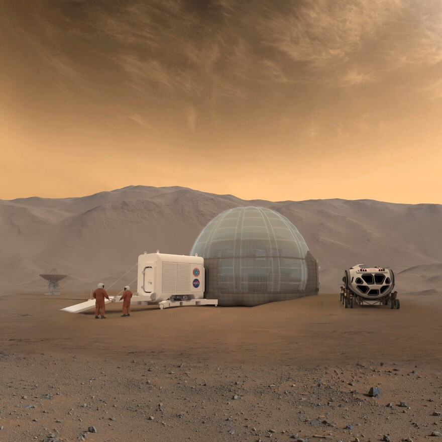 An artist's rendering of the Mars Ice Home concept.