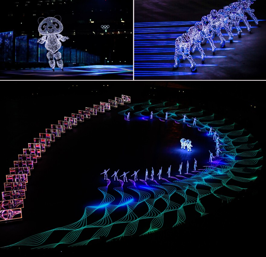 An elaborate, illuminated performance celebrates the Winter Games' next site, Beijing, complete with an appearance by skating pandas.