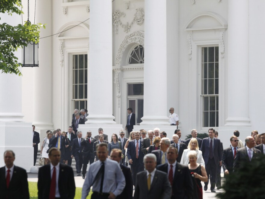 House Republicans leave the White House on June 1, after a meeting with President Obama about the debt ceiling.