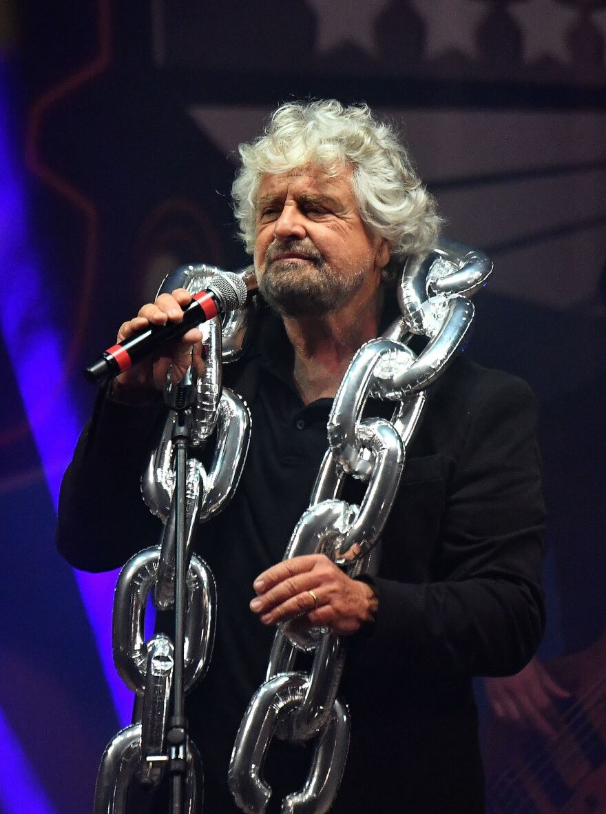 5-Star Movement founder Beppe Grillo, a stand-up comedian, performs during a party meeting in Rimini last September.