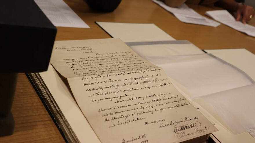 In an 1888 letter, Charles Hill and William Hoyt invite Frederick Douglass to give a lecture in Stamford, Ct. It is part of the Walter Evans Collection of Frederick Douglass and Douglass Family Papers recently acquired by Yale University.