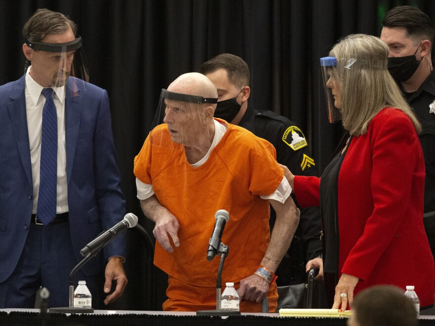 Golden State Killer suspect Joseph James DeAngelo (center) pleaded guilty on Monday in Sacramento, Calif., to 13 murders and other related charges.