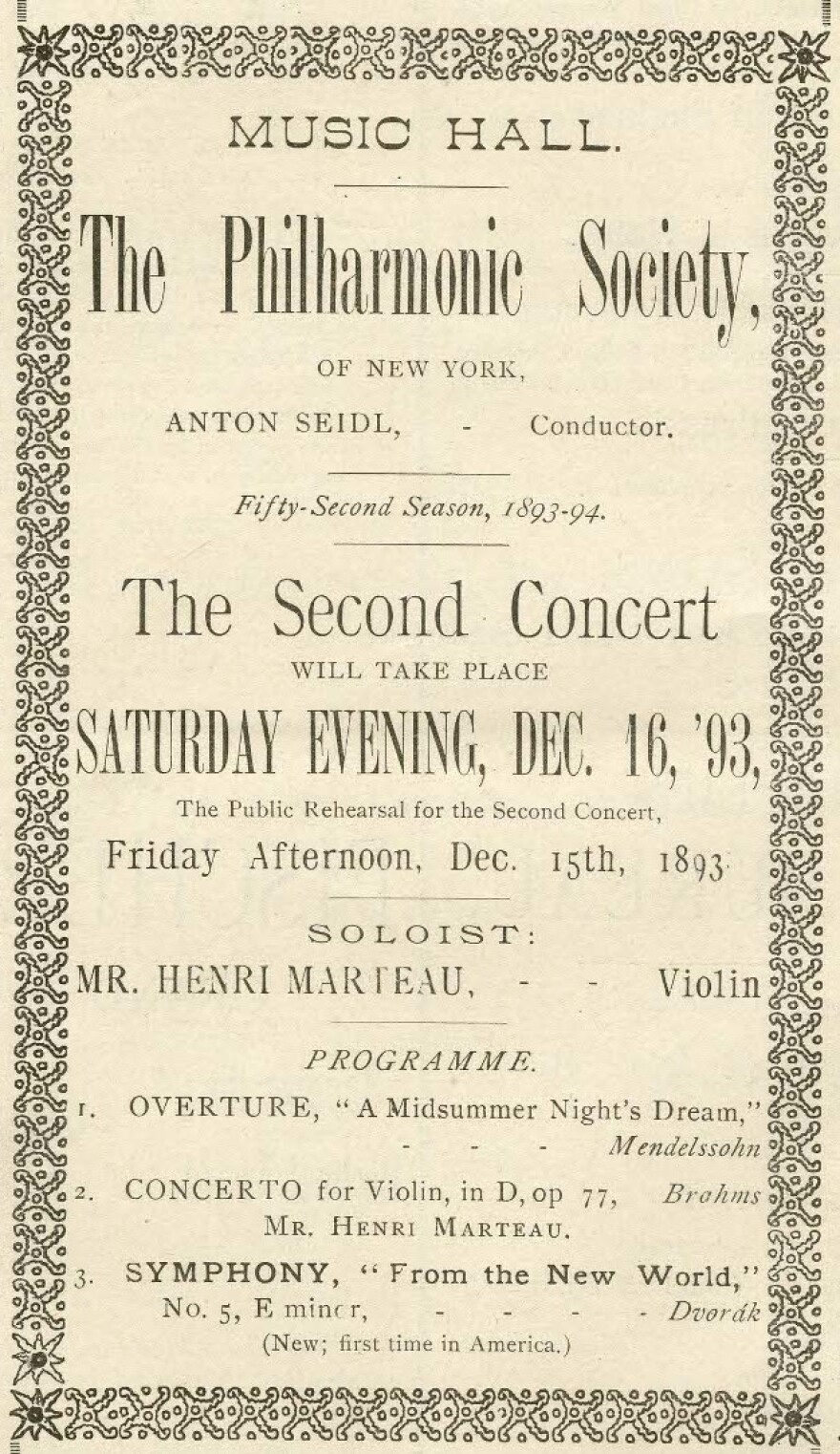 "An 1893 advertisement for the world premiere of Dvorak's ""New World"" Symphony."