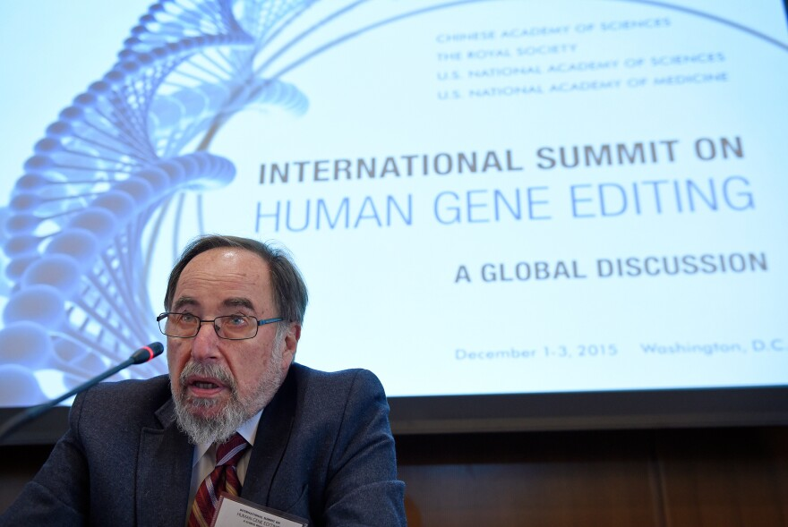 Nobel laureate David Baltimore of Caltech speaks to reporters at the National Academy of Sciences international summit on human gene editing, on Tuesday in Washington, D.C. Hundreds of scientists and ethicists from around the world debating how to deal with technology that makes it easy to edit the human genetic code.