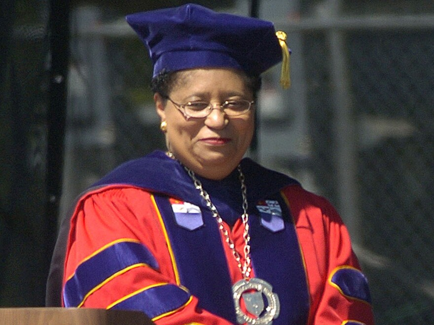 Rensselaer Polytechnic Institute President Shirley Ann Jackson holds 2005 commencement exercises in Troy, N.Y. Jackson is one of three dozen presidents of private colleges and universities who made more than $1 million in 2012.