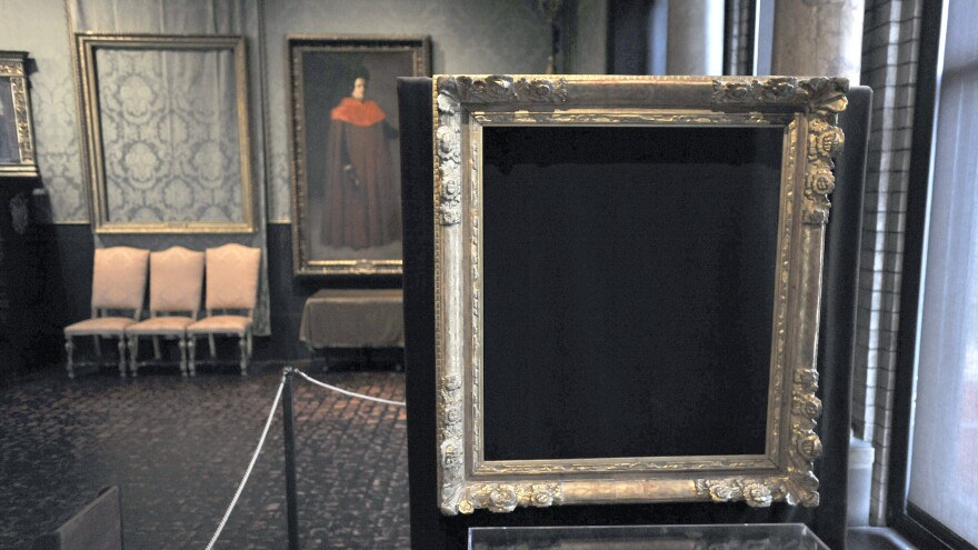 Empty frames from which thieves took <em>Storm on the Sea of Galilee</em> by Rembrandt and <em>The Concert</em> by Vermeer remain on display at the Isabella Stewart Gardner Museum in Boston in 2010. Midnight on Dec. 31, 2017, is the deadline to collect a $10 million reward being offered for information leading to the recovery of 13 stolen works worth an estimated $500 million.
