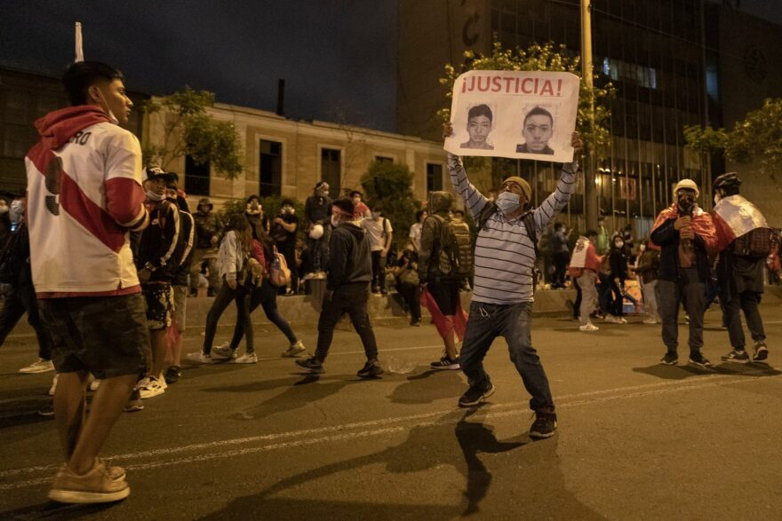 In Lima, Peru, after now-interim President Francisco Sagasti was sworn in, demonstrators demanded justice for the deaths of two young people who were killed during a protest.