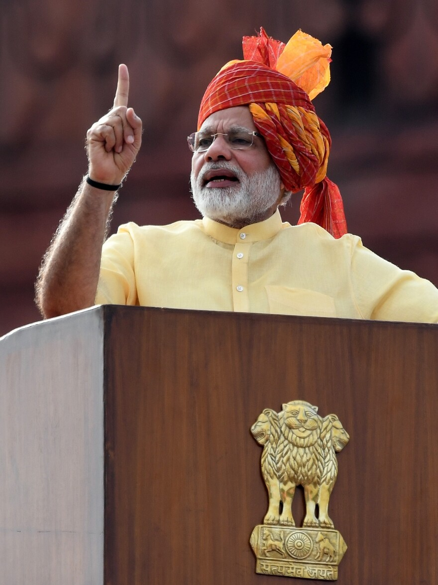 Indian Prime Minister Narendra Modi delivers an address on Independence Day in New Delhi on Aug. 15, 2017.