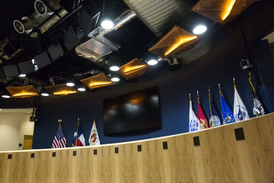 The dias at Austin City Hall.