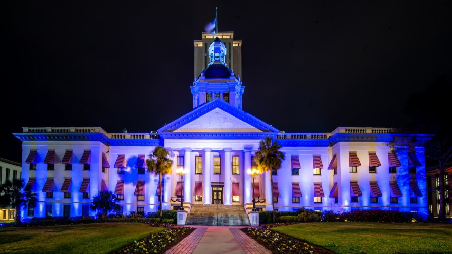 The Florida Historic Capitol is lit blue to stand with the Pensacola community following last fatal shooting at NAS Pensacola.