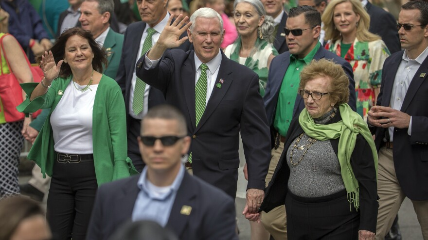 Vice President Pence, his wife, Karen Pence (left), and his mother, Nancy Pence-Fritsch, marched in Saturday's St. Patrick's Day parade in Savannah, Ga.