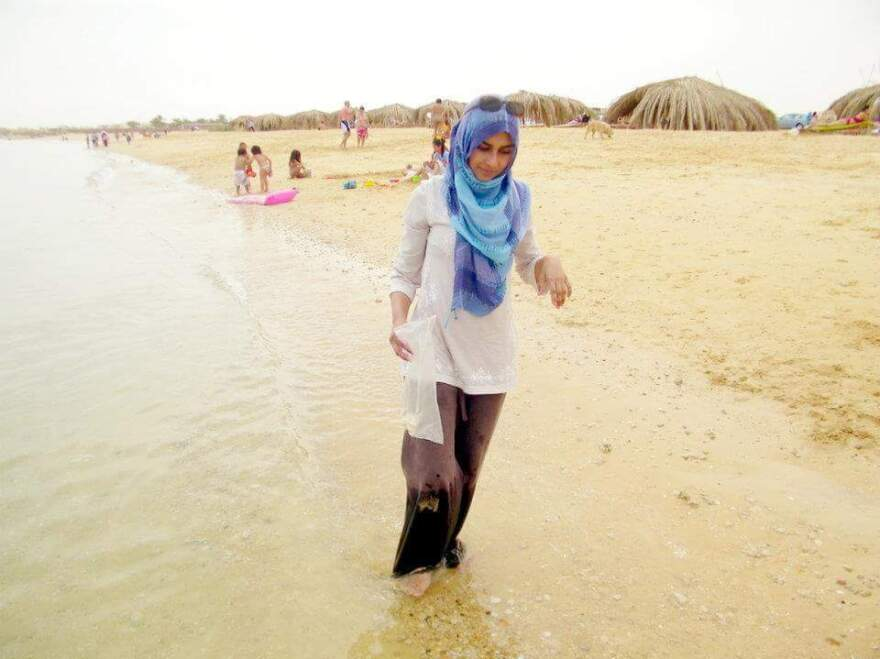 Tania Joya walks on the beach in Egypt in 2012. When her American husband John Georgelas joined the Islamic State in Syria in 2013, she fled with their children and returned to Texas, where she has built a new life.