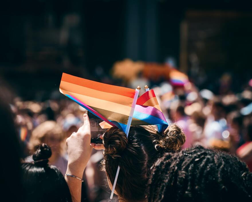 A small rainbow flag is raised above heads. The people are facing away from the camera.