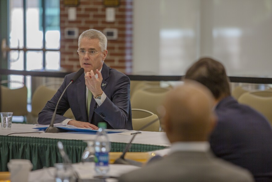 Steven Currall makes a point to the USF Board of Trustees shortly before they voted to name him as USF's next President Mar. 22.