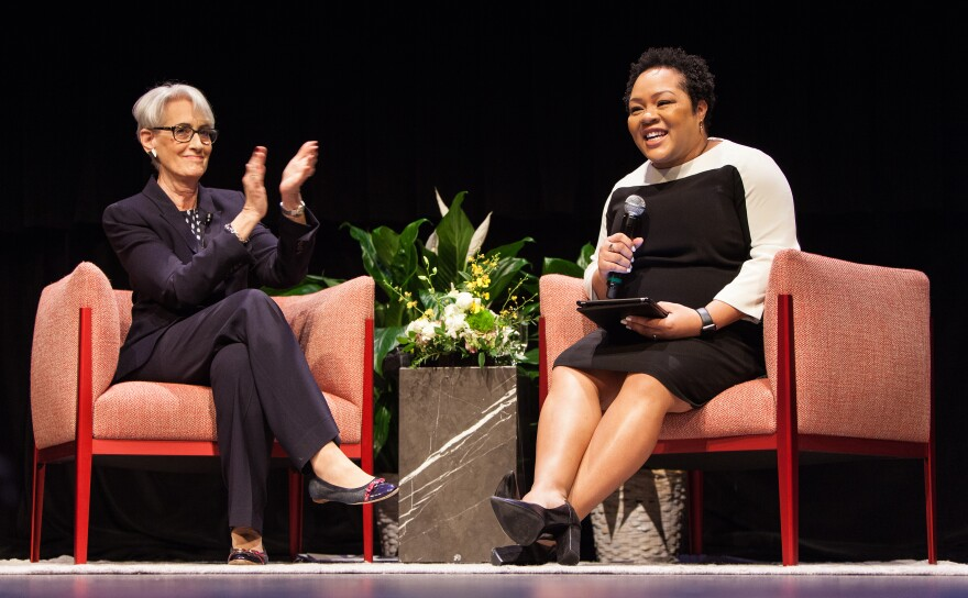 Photo of Wendy Sherman and Yamiche Alcindor on stage.