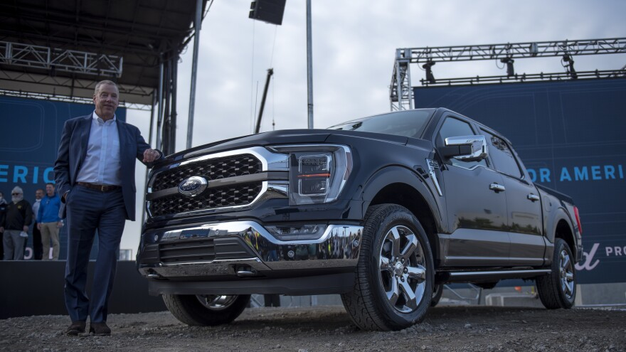 Executive Chairman of Ford Bill Ford poses for a photo with the 2021 Ford F-150 King Ranch Truck in Dearborn, Mich., on Sept. 17, 2020. Strong demand for high-margin vehicles like pickup trucks has propelled Ford and its rivals to remarkably strong earnings this past quarter.