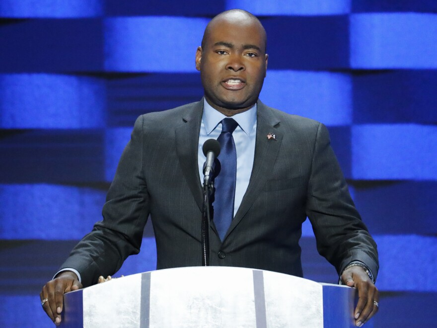 South Carolina Democratic Party Chair Jaime Harrison speaks during the final day of the Democratic National Convention in Philadelphia on July 28, 2016.