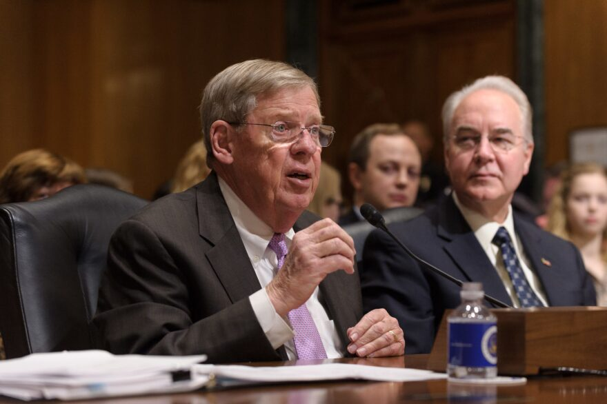 """U.S. Sen. Johnny Isakson at a Senate hearing. The Republican senator from Georgia introduced a bill to fund """"mass violence"""" research."""